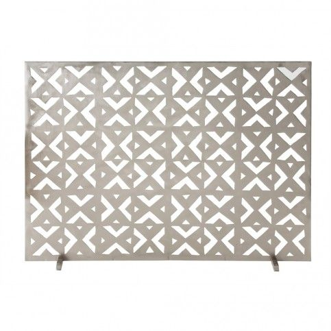 THE WELL APPOINTED HOUSE - Brushed Nickel Geometric Fireplace Screen