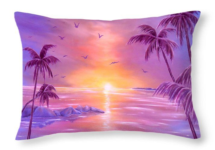 Throw Pillow,  home,accessories,bedroom decor, cool,beautiful,fancy,unique,trendy,artistic,awesome,fahionable,unusual,gifts,presents,for,sale,design,ideas,purple,violet,tropical,sunset,palmtrees