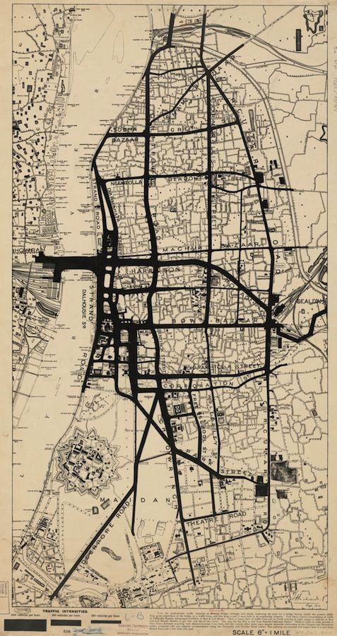 Map of traffic densities in Calcutta India, 1913.