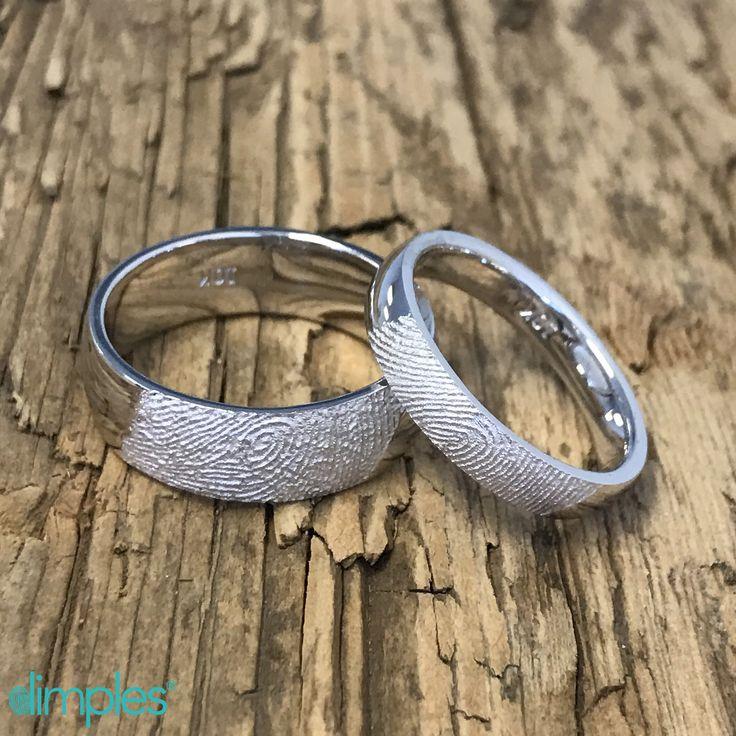 Fingerprint Wedding Bands. His and Her wedding rings with each other's fingerprints.  #fingerprintring #fingerprintweddingband #fingerprintweddingring