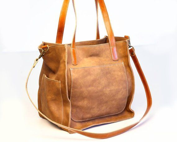 b46ddf90e4 Tote bag with 6 pockets Crossbody strap and short handles for Shoulder bag  Brown leather totes for w
