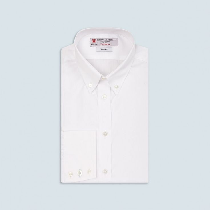 Slim Fit White Oxford Cotton Shirt with Button-Down Collar