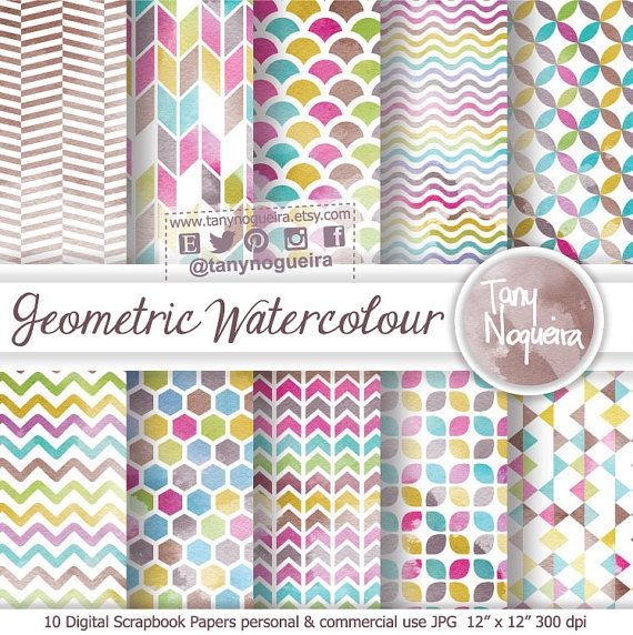 Geometric Watercolor Digital Paper Watercolour, Triangles, Arrows, Chevron, Pink, Turquoise, Yellow, Gray, Red, Orange, blog backgrounds