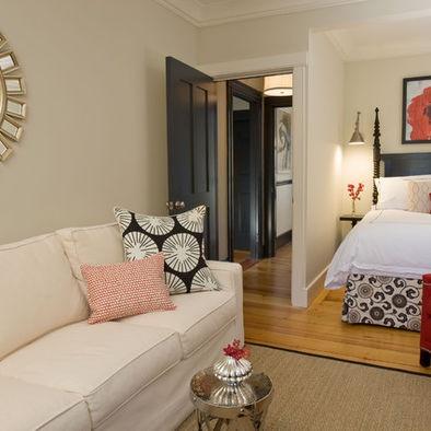 pillowsContemporary Bedrooms, Ideas, Interiors Doors, Public Spaces, Black Doors, Sitting Area, Studios Apartments, Black Furniture, Apartments Design