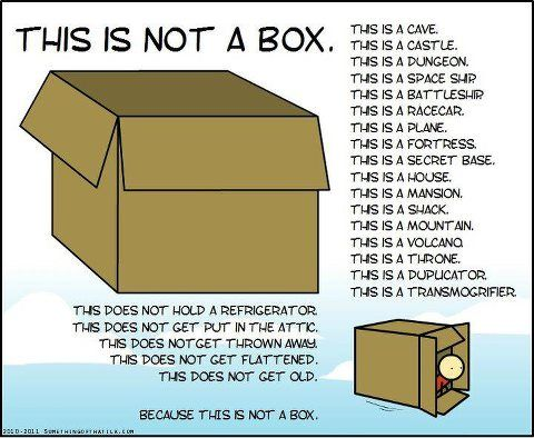 this is not a box...A great idea for a Provocation. Give every child the same box and get them to create a plan for what it could be and then write a story around what they create. This could be an awesome technology unit.