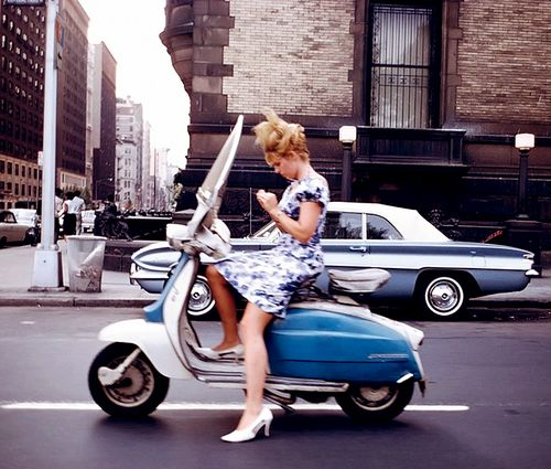 ph. Joel Meyerowitz, NYC 1965...two classics. A Vespa and an early Meyerowitz...both long term keepers..