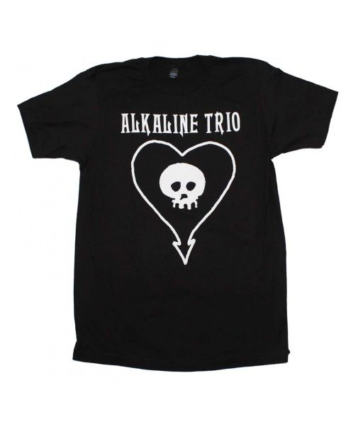 Check out this sweet Alkaline Trio t-shirt featuring the band's classic heartskull print. Men's standard fit t-shirt. Black.