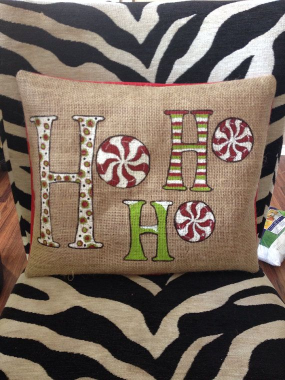 "HO HO HO Christmas Pillow Christmas Pillow by TiffinyHDesigns, $40.00 Would be cute to use Christmas fabric yoyo's for the ""o's"""