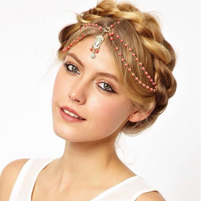 Boho Pearl Gold Wedding Headdress Headband Head Band Crown Chain Headpiece 2016