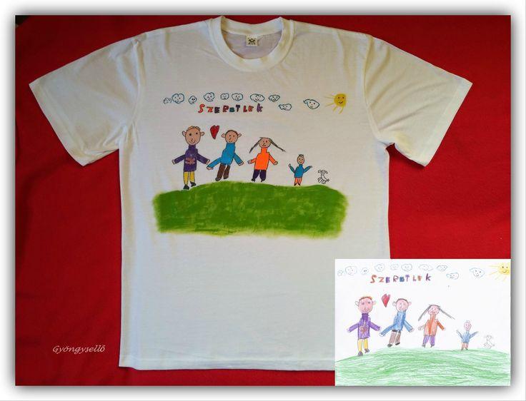 5 éves kisfiú rajza alapján, kézzel festett felnőtt póló