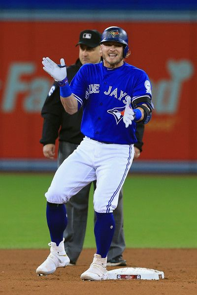 Josh Donaldson #20 of the Toronto Blue Jays reacts after hitting a double in the ninth inning against the Baltimore Orioles during the American League Wild Card game at Rogers Centre on October 4, 2016 in Toronto, Canada.