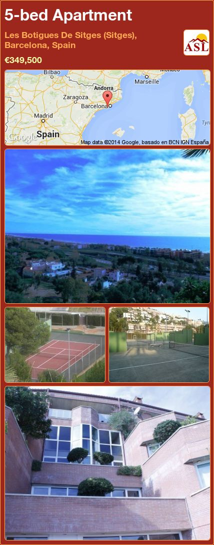 5-bed Apartment in Les Botigues De Sitges (Sitges), Barcelona, Spain ►€349,500 #PropertyForSaleInSpain