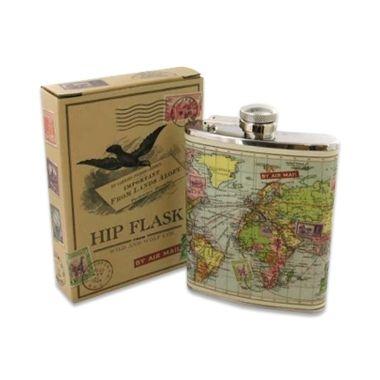 Cadeau malin: Flasque simili-cuir mappemonde