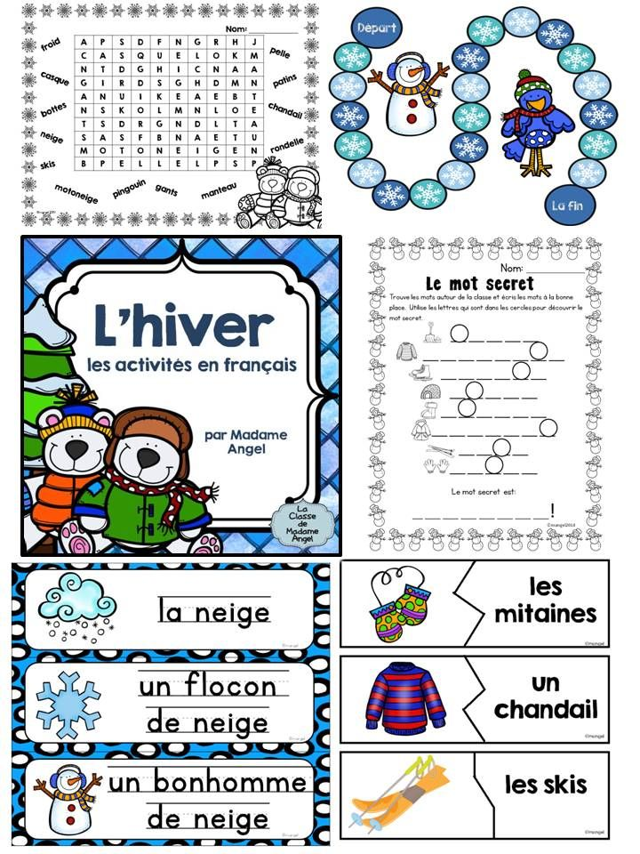 C'est l'hiver! Winter themed package in French! Features Word Wall cards, games, puzzles, printables and so much more! $