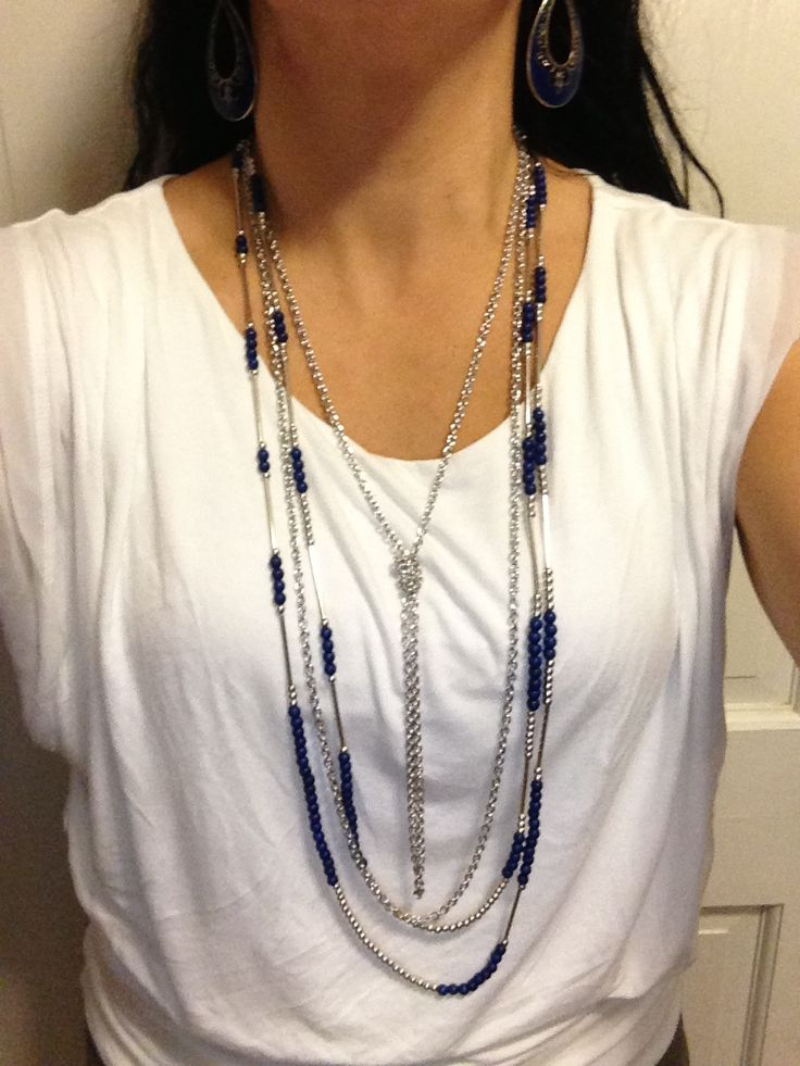 Combo of the day: True Blue necklace (with one strand knotted) paired with Color Pop earrings.  www.facebook.com/YourDazzlingJewelryDiva