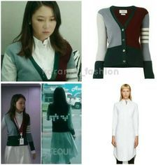 "266 lượt thích, 1 bình luận - @kdrama_fashion trên Instagram: ""Gong Hyo Jin wore THOM BROWNE White Oxford Shirt Dress (USD980) and THOM BROWNE Colour Block…"""