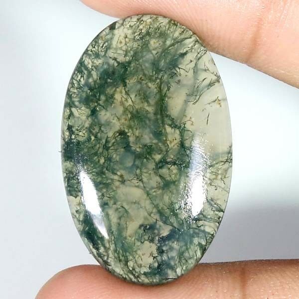 Moss Agate Round Gemstone Cabochon ~ Polished Agate Crystal