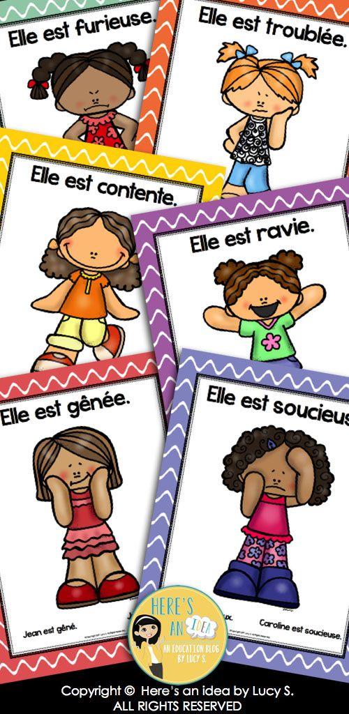 French Emotions and Feeling Posters and Foldable Mini-Books. Des émotions en français: affiches et mini-livres.