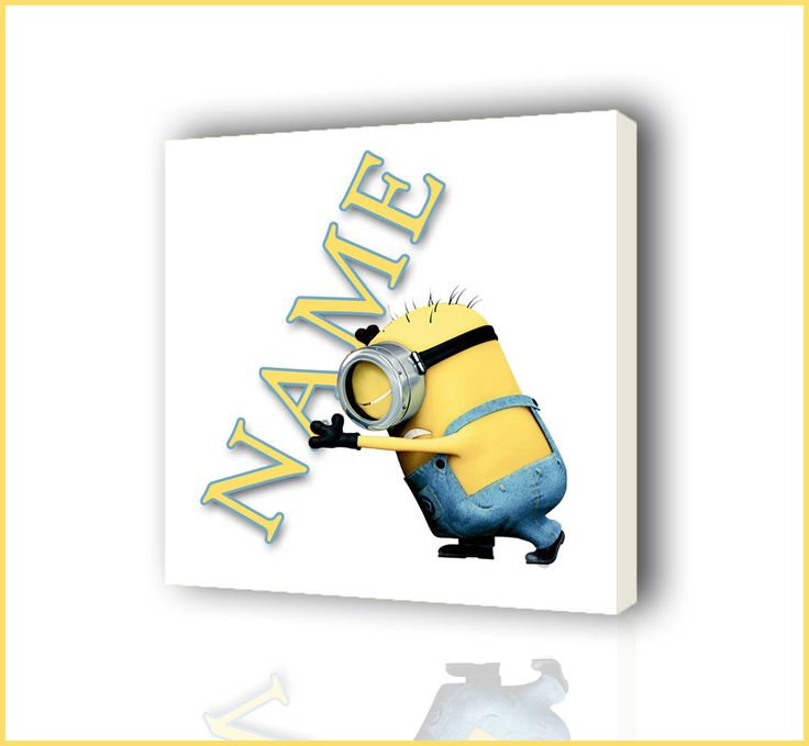 PERSONALISED MINIONS HOLDING NAME CANVAS PICTURE PHOTO PRINT BOX FRAMED CANVAS