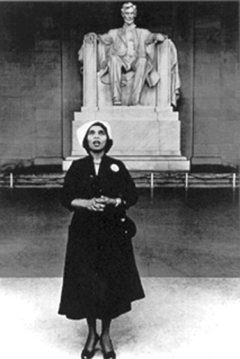 Marian Anderson singing at Lincoln Memorial. I have this postcard.