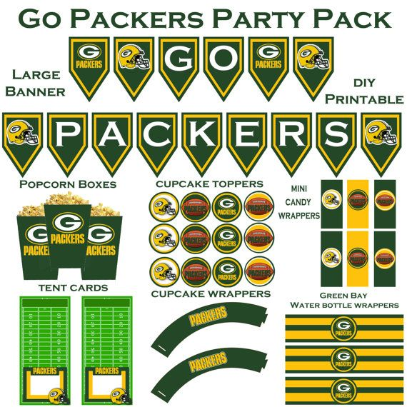 NFL Green Bay Packers Party Pack printable DYI by DecorAtYourDoor