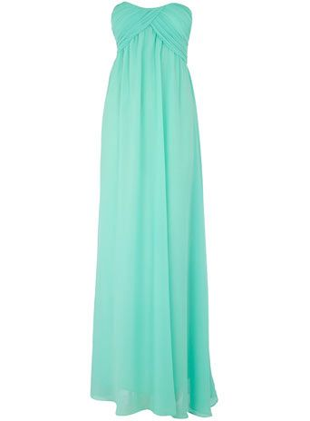 Mint bandeau pleat maxi dress