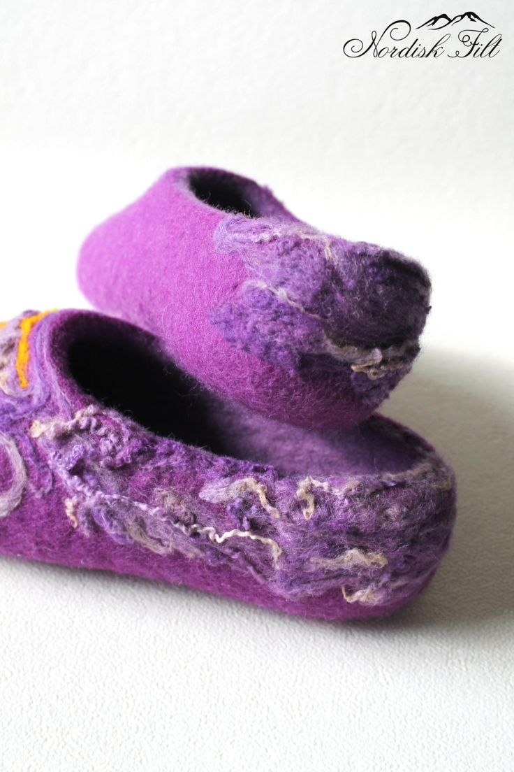 Felted wool slippers-Home shoes-curly purple by NordiskFilt on Etsy