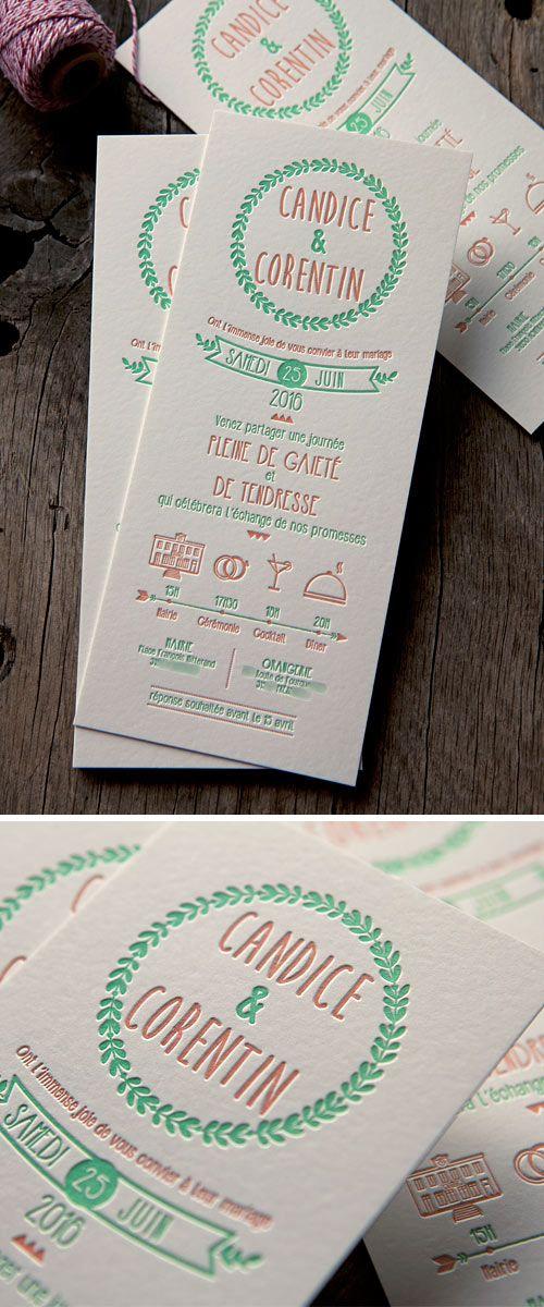 Faire-part champêtre imprimlé en 2 couleurs / 2 colors letterpress wedding invite