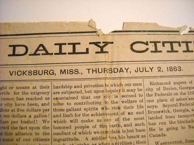 Daily Citizen Newspaper Wallpaper July 2 1863 Vicksburg Antique Paper Civil War