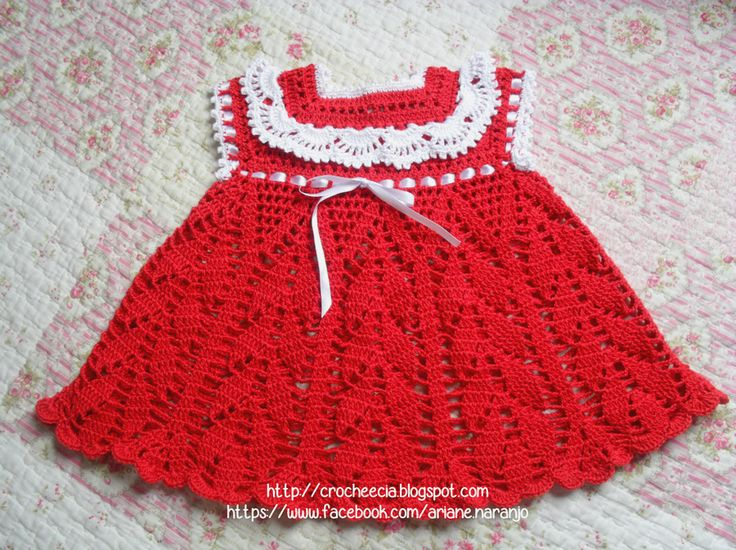 vestido de crochê para bebê com gráfico