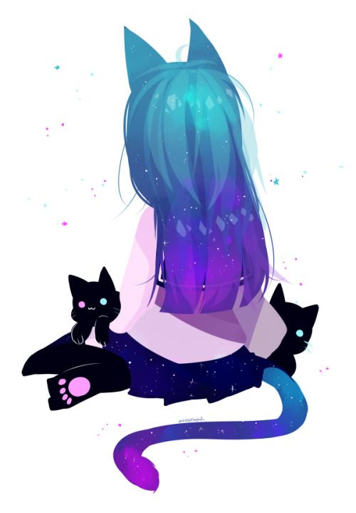 A cute anime girl ( child ) who is a neko, with nekos!