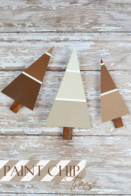 This little craft uses Paint Chips to make color little christmas trees. CUTE!