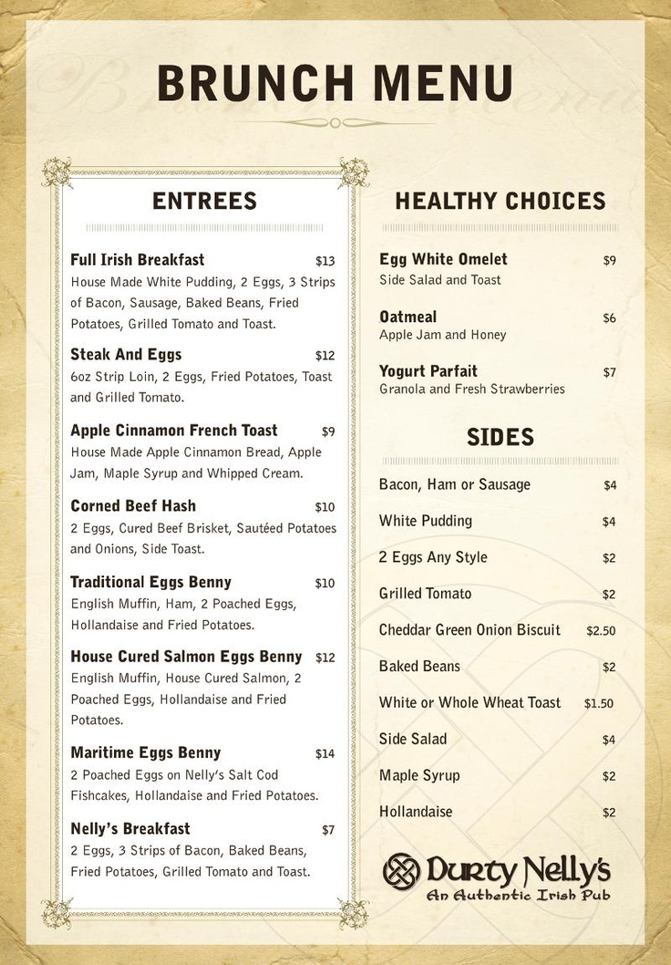 Guess who has a new brunch menu that would be halifax 39 s for Irish menu templates