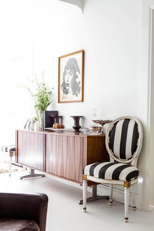 modern white and midcentury look with black and white striped louis chair - Black And White Chairs Living Room
