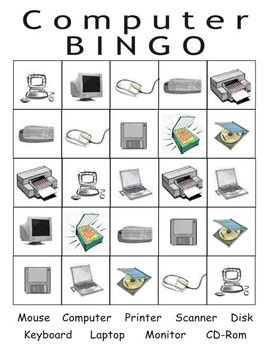 Computer Bingo with computer components and cards.  Pictures on one side, words on the other.computer thematic unit