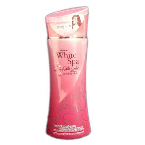 """Mistine White Spa Pink Pearl Anti-aging Uv Whitening Lightening Lotion 100 Ml Made in Thailand by Mistine. $24.99. Type: Whitening Lotion  Brand: Mistine  Variant: White Spa Pink Pearl  Product features: Combine 2 in 1 benefits in Mistine White Spa Pink Pearl, """"Whitening & Anti-aging"""" properties. Pink Pearl Extract help prevent skin from UV rays. Feel relax with spa aroma perfumed lotion.  Ingredients: Water, Glycerin, Propylene glycol, Cetyl alcohol, Polysorbate 60, Isopropyl my..."""