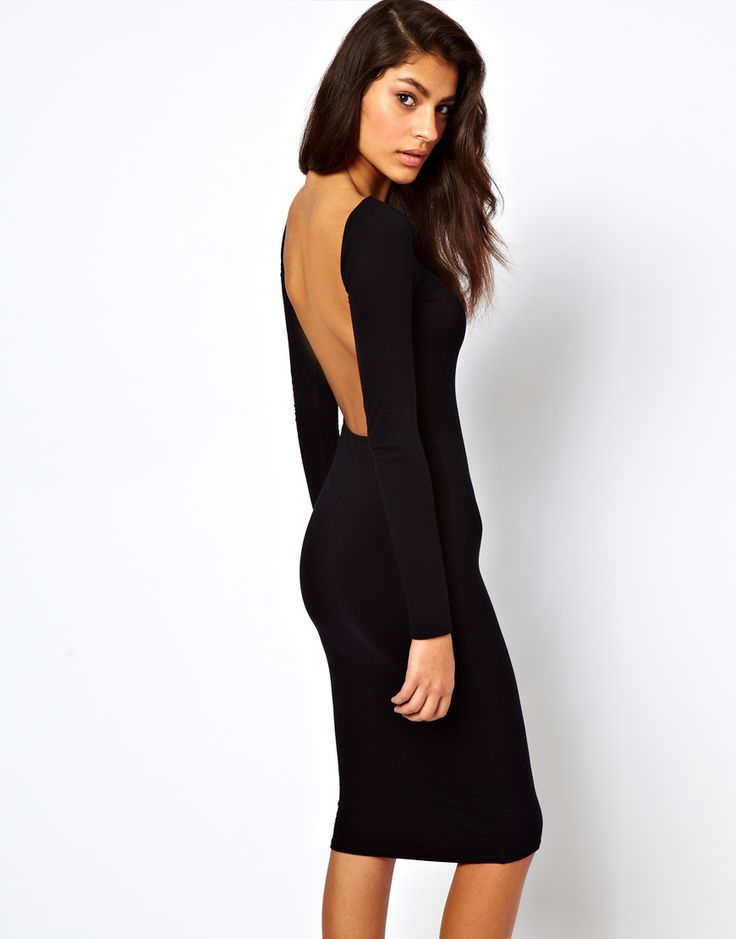 Bodycon Midi Dress With Square Open Back at ASOS