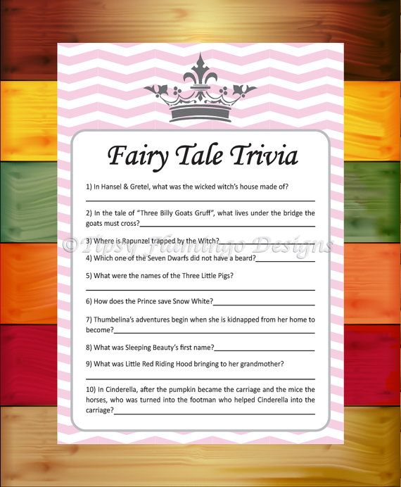 Baby Shower Game Fairy Tale Trivia Shower by TipsyFlamingoDesigns