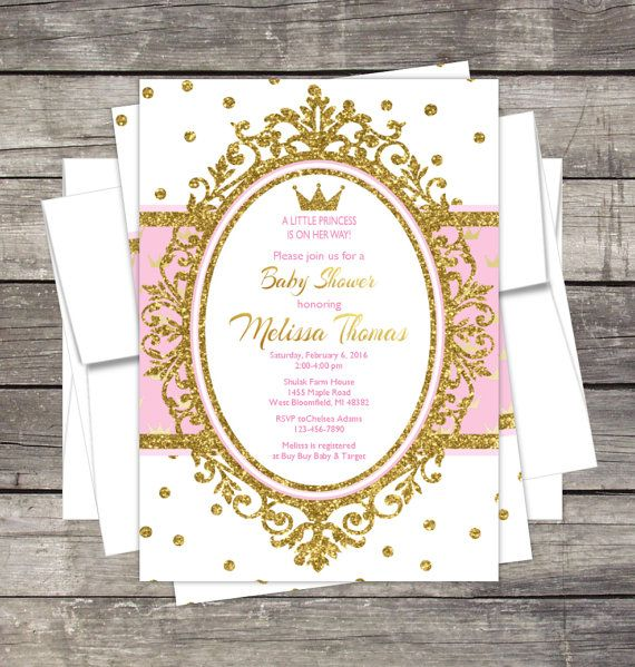 Royal Princess Baby Shower Invitation Pink by PinkSugarPartyShop