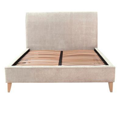 debenhams linen coloured upholstered 39 fyfield 39 bed frame with light wood feet at. Black Bedroom Furniture Sets. Home Design Ideas