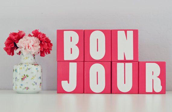 CUSTOM LETTER BLOCKS – Personalized Bonjour Sign – Paris France French Bedroom Room – Baby Shower Gift – Room Nursery Girl