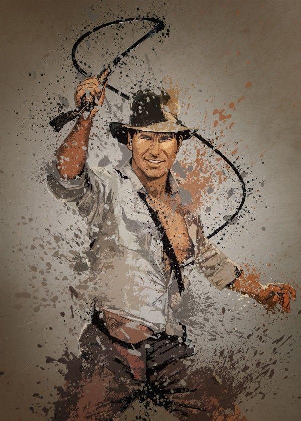 Indiana Jones. Splatter effect artwork inspired by the Indiana Jones movies.