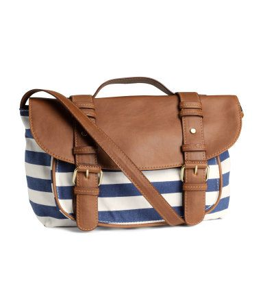 Blue and white striped messenger bag from HM
