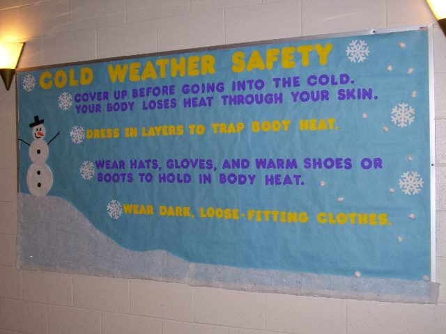 Inform parents on how to protect infants throughout the changing seasons on a colorful bulletin board.