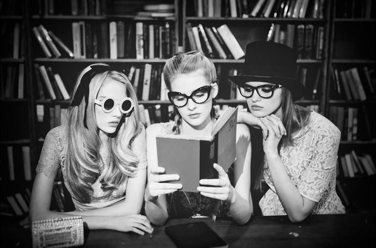 """Allie Lewis, Jordan Strange, and Stasia Tomecek reading in """"Awake My Thoughts"""" for LADYGUNN magazine, January 2011. Photograph by Billy Rood. """"FROM LEFT: Rose colored lace dress with waist shawl, Norman Original from LuLu's at the Belle Kay. Black..."""