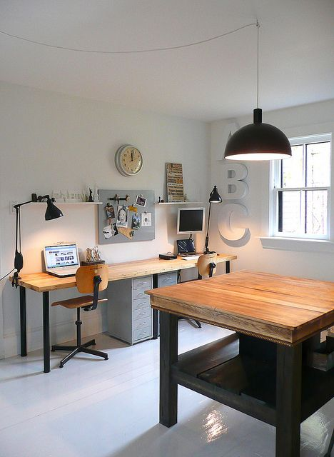 Workspace- Can't paint your apartment walls? Embrace them with furniture and accessories in wood, steel and black metal for a lovely and clean industrial feel.