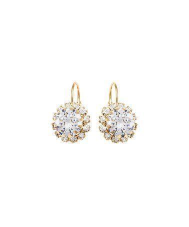Crystal & Gold Flower Huggie Earrings #zulily #zulilyfinds