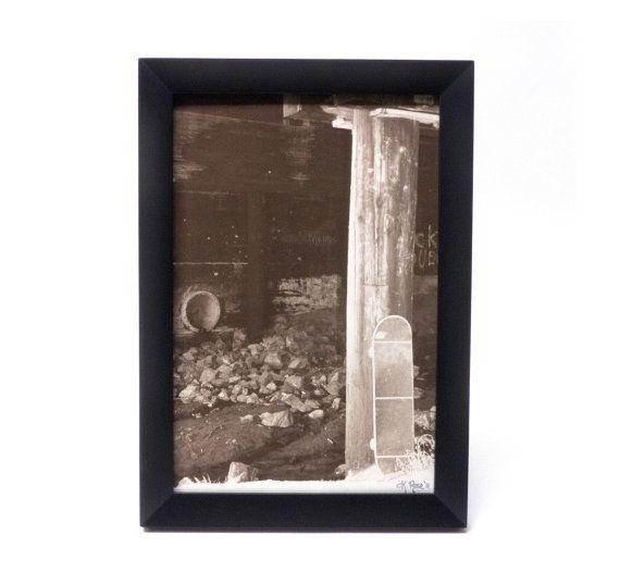 Under the #Bridge #photo #print #framed photo #black frame by Sweetsere. #skateboard