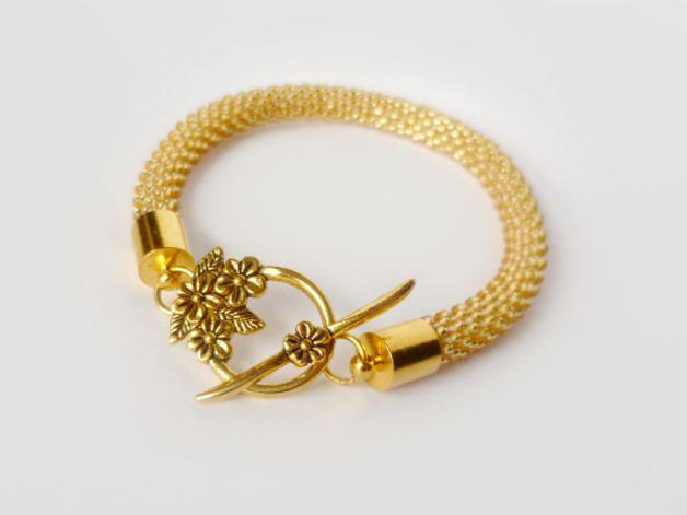 Złoty Glamour w kwiatach - Projektownia - Bransoletki
