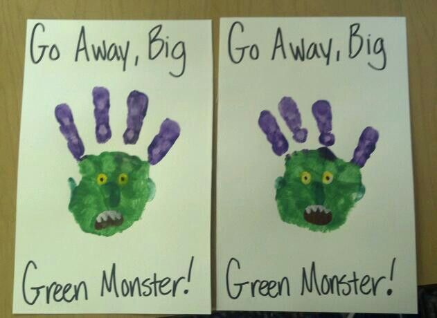 Go Away, Big Green Monster! Well if you've read the story, you get it. The kids love it and wanted to make monsters of their own. (I will say you do have to use white outunder the yellow for the eyes, and white out for the teeth.)